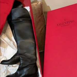 Valentino black over the knee leather boots sz 37